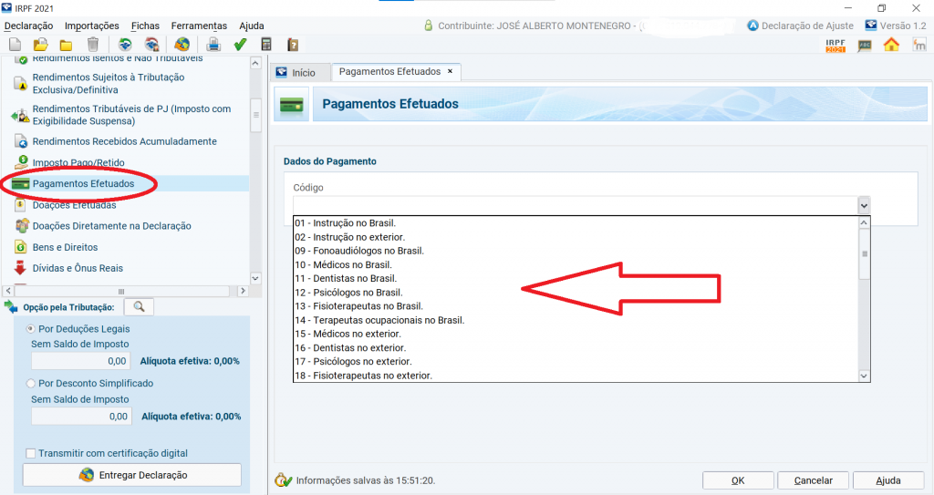 IR: pagamentos efetuados