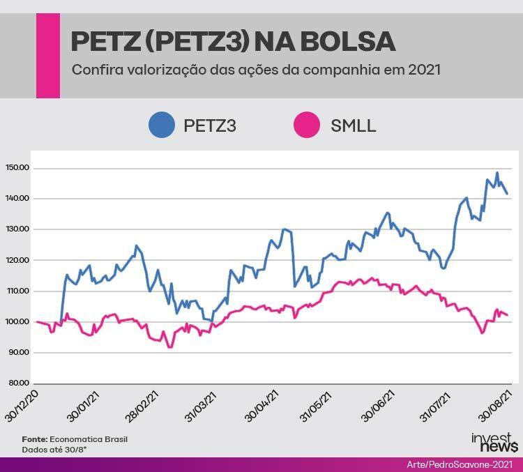Gráfico mostrando a valorização das ações da petz (petz3) na bolsa em 2021.