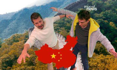 dony e samy caindo da muralha da China