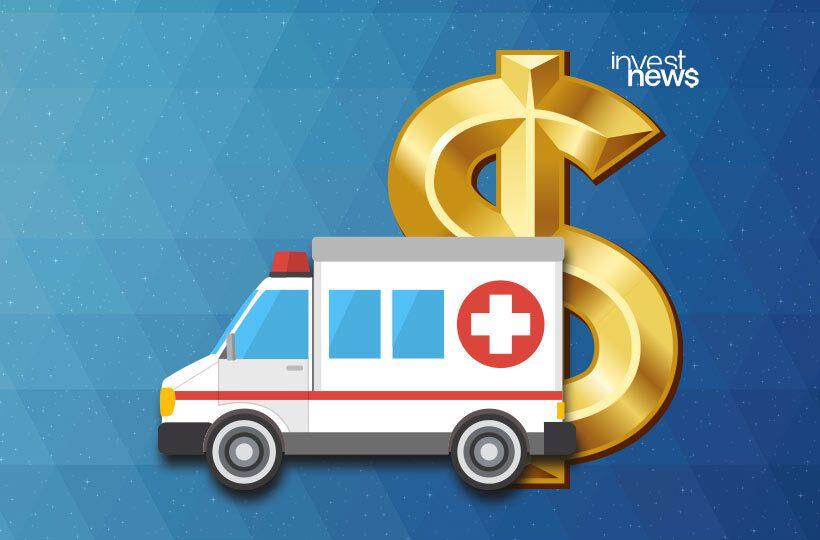 Ilustração de reserva de emergência, uma ambulância e símbolo do cifrão de dinheiro.